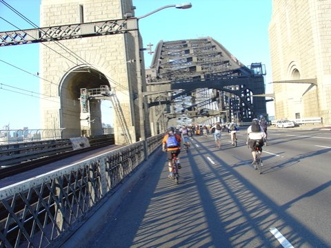 critical mass photo on sydney harbour bridge
